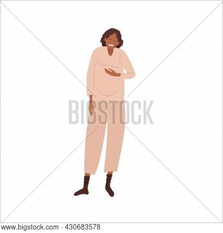 Nausea And Vomiting During Pregnancy. Pregnant Woman Experiences Stomach Discomfort. African America