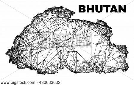 Net Irregular Mesh Bhutan Map. Abstract Lines Are Combined Into Bhutan Map. Wire Carcass 2d Net In V