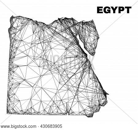 Net Irregular Mesh Egypt Map. Abstract Lines Form Egypt Map. Wire Frame Flat Net In Vector Format. V