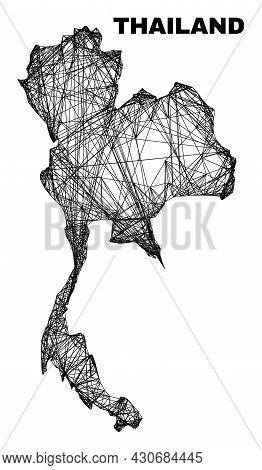 Wire Frame Irregular Mesh Thailand Map. Abstract Lines Form Thailand Map. Wire Frame Flat Net In Vec