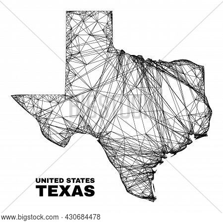 Carcass Irregular Mesh Texas State Map. Abstract Lines Are Combined Into Texas State Map. Linear Car