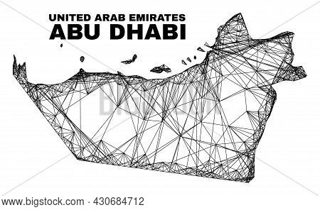 Wire Frame Irregular Mesh Abu Dhabi Emirate Map. Abstract Lines Form Abu Dhabi Emirate Map. Wire Fra