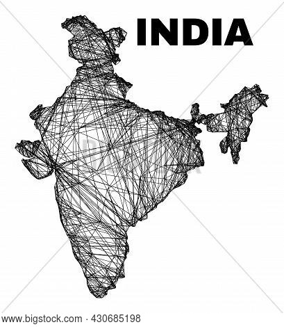 Carcass Irregular Mesh India Map. Abstract Lines Are Combined Into India Map. Linear Carcass 2d Netw
