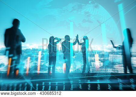 Businesspeople With Hi-five Gesture Standing On Night City Background With Glowing Globe And Busines