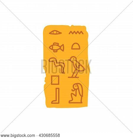 Papyrus With Ancient Egyptian Hieroglyphs, Flat Vector Illustration Isolated.