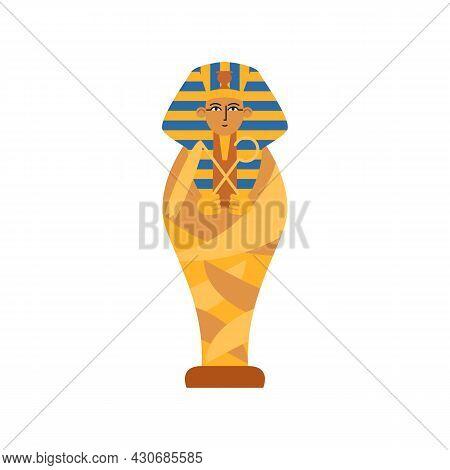 Golden Ancient Sarcophagus With Mummy Egyptian Pharaoh A Vector Illustration.