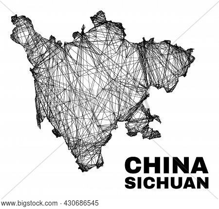 Carcass Irregular Mesh Sichuan Province Map. Abstract Lines Form Sichuan Province Map. Linear Carcas