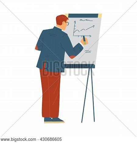 Trainer Or Coacher Near Presentation Board, Flat Vector Illustration Isolated.