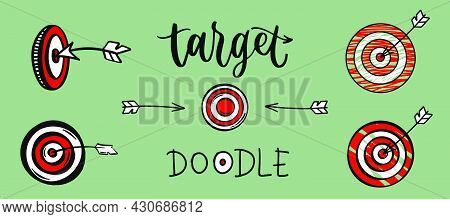 Target In Doodle. Aim Icon In Sketch. Success Symbol. Goal Icons Set. Target With Arrow In Sketch