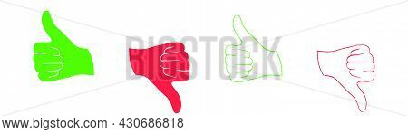 Thumb Up And Down. Like And Dislike Hand. Thumbs Up And Down In Green And Red. Positive And Negative
