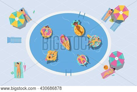 Vector Background With People Sunbathing And Floating In Swimming Pool