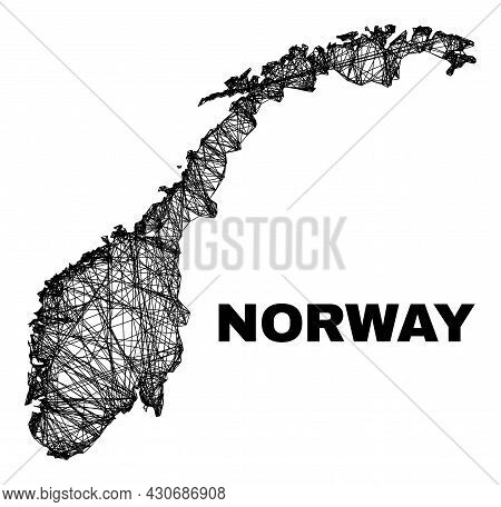 Wire Frame Irregular Mesh Norway Map. Abstract Lines Are Combined Into Norway Map. Wire Frame Flat N