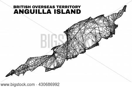 Wire Frame Irregular Mesh Anguilla Island Map. Abstract Lines Are Combined Into Anguilla Island Map.