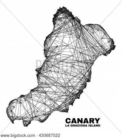 Carcass Irregular Mesh La Graciosa Island Map. Abstract Lines Form La Graciosa Island Map. Linear Ca