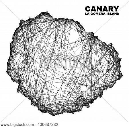 Wire Frame Irregular Mesh La Gomera Island Map. Abstract Lines Form La Gomera Island Map. Wire Frame