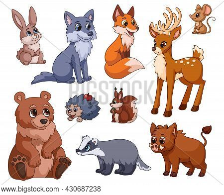 Cartoon Forest Animal. Nature Animals, Woodland Cute Squirrel, Wolf, Bear. Red Fox And Mouse For Chi