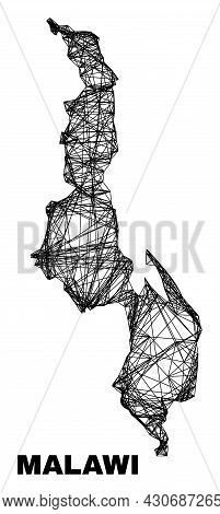 Wire Frame Irregular Mesh Malawi Map. Abstract Lines Form Malawi Map. Wire Frame Flat Network In Vec