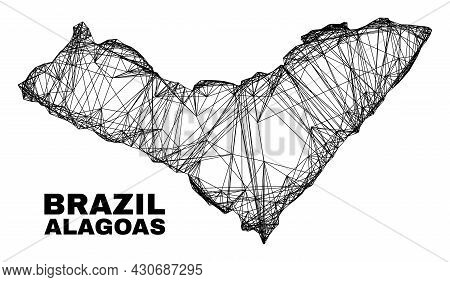 Wire Frame Irregular Mesh Alagoas State Map. Abstract Lines Form Alagoas State Map. Wire Carcass 2d