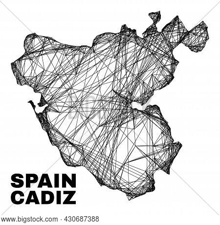 Wire Frame Irregular Mesh Cadiz Province Map. Abstract Lines Form Cadiz Province Map. Wire Frame Fla