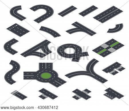 Isometric Road Collection. Construction, Roads Street And Pavement. Asphalt Highway In Perspective,
