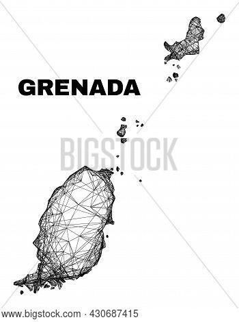 Wire Frame Irregular Mesh Grenada Map. Abstract Lines Are Combined Into Grenada Map. Wire Frame 2d N