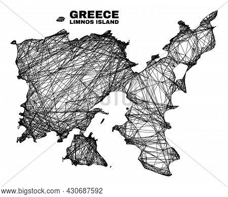 Net Irregular Mesh Limnos Island Map. Abstract Lines Are Combined Into Limnos Island Map. Wire Carca