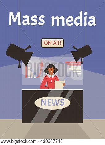 Poster With Journalist Newscaster On Air Reads Hot News In Front Of Tv Cameras