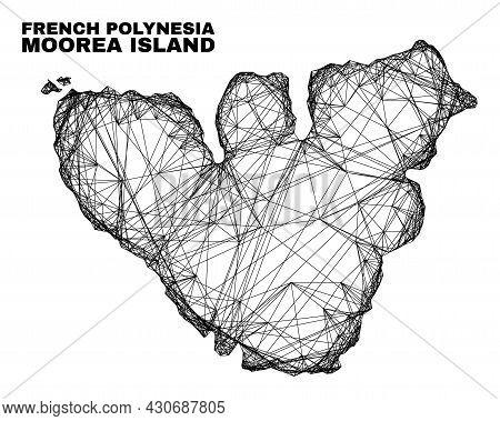 Carcass Irregular Mesh Moorea Island Map. Abstract Lines Form Moorea Island Map. Linear Carcass Flat