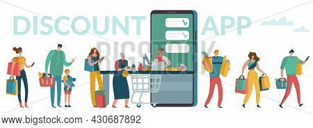Mobile Supermarket. Smartphone Discount App Concept. People Wait In Line And Buy Food Products In Di