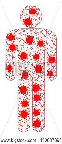 Mesh Man Figure Polygonal Icon Vector Illustration, With Infectious Centers. Model Is Based On Man F