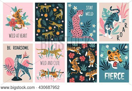 Tigers Tropical Leaves Cards. Beautiful Wild Nature Jungle, Exotic Predatory Animals From Cat Family
