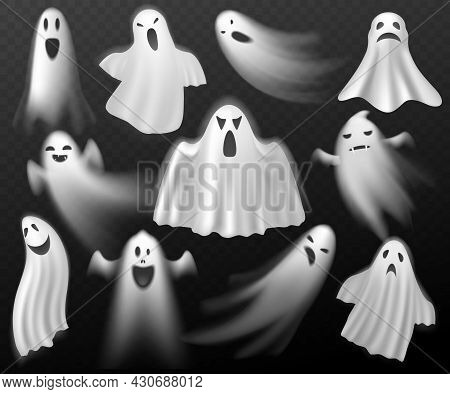 Halloween Ghosts. Scary Creature, White Curtain Spooks, Realistic Phantoms, Dead Souls Characters In
