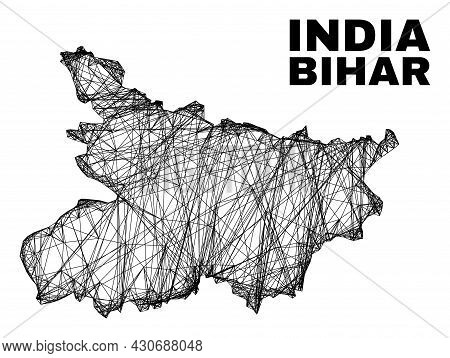 Wire Frame Irregular Mesh Bihar State Map. Abstract Lines Are Combined Into Bihar State Map. Wire Fr