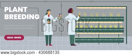 Plant Breeding And Biotechnology Website Template, Flat Vector Illustration.