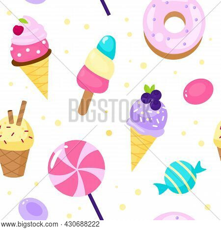 Seamless Pattern Sweets. Cartoon Style Candies And Ice Cream Background Dessert, Lollipop And Donut,