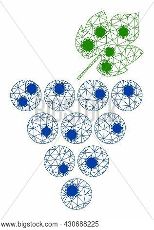 Mesh Grapes Bunch Polygonal Icon Vector Illustration, With Coronavirus Nodes. Carcass Model Is Based