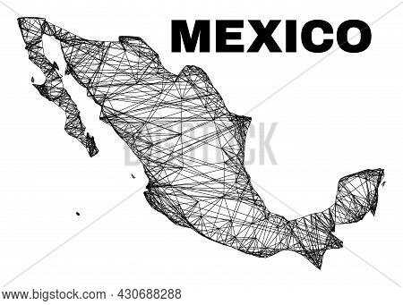 Net Irregular Mesh Mexico Map. Abstract Lines Are Combined Into Mexico Map. Wire Carcass 2d Net In V