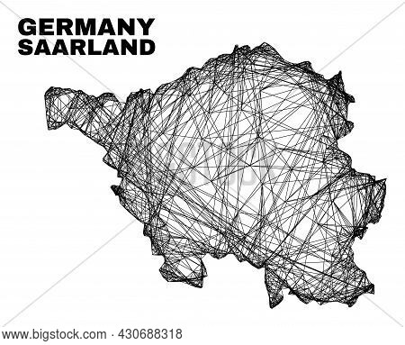 Carcass Irregular Mesh Saarland Land Map. Abstract Lines Are Combined Into Saarland Land Map. Linear