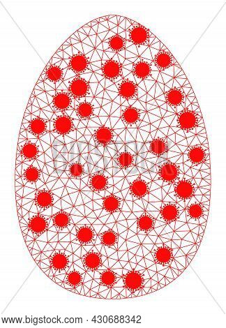 Mesh Egg Polygonal Symbol Vector Illustration, With Virus Nodes. Carcass Model Is Based On Egg Flat
