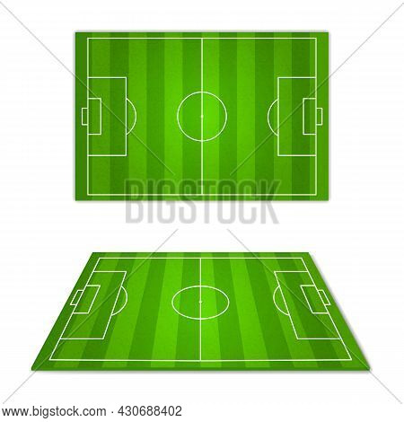 Football Field Green. Soccer Play Grounds, Different Camera Angles, Perspectives And Top View, White