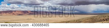 A Panorama Of The Vermillion Cliffs National Monument In The Desert Of Northern Arizona On A Bright,