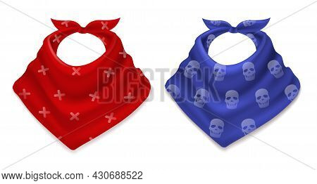 Realistic Bandana. 3d Scarves, Cowboy Style Red And Blue Neckerchiefs With Prints, Fashion Neck And