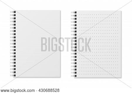 Realistic Notebooks. Blank Padded Diary Sketchbook With Dots For Writing Or Painting. White Copybook