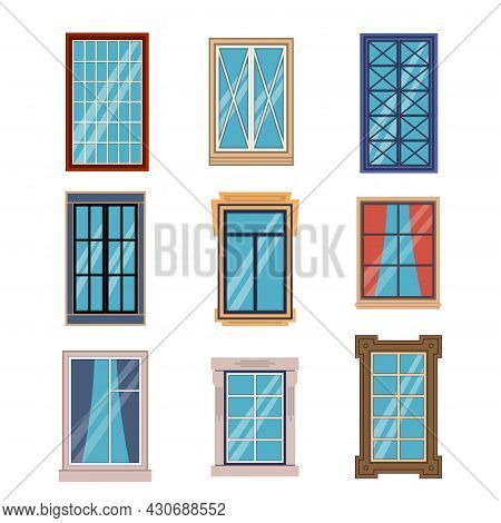 Windows Frames Flat. Colorful Various Window Frame Wooden And Plastic With Sills Front View, Exterio
