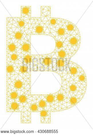 Mesh Bitcoin Symbol Polygonal Icon Vector Illustration, With Virus Centers. Model Is Created From Bi