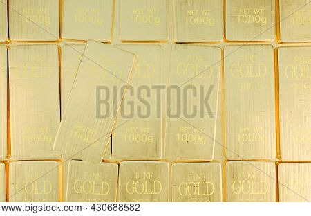 Stack Close-up Gold Bars Weight Of 1000 Grams.,concept Of Success In Business And Finance.,3d Model
