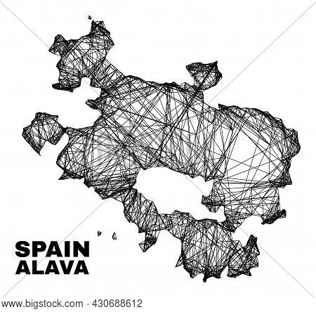 Wire Frame Irregular Mesh Alava Province Map. Abstract Lines Are Combined Into Alava Province Map. W