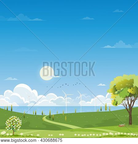 Spring Rural Landscape, Green Meadow On Hills With Cloud And Blue Sky, Vector Cartoon Summer Landsca