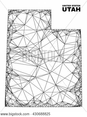 Wire Frame Irregular Mesh Utah State Map. Abstract Lines Are Combined Into Utah State Map. Wire Fram