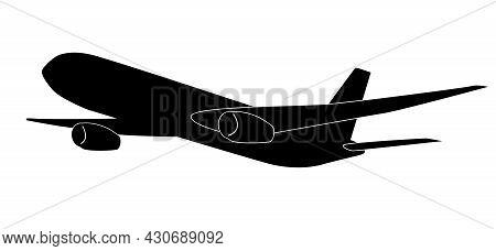 Airplane Symbol, Large Passenger Jet Pictogram Vector Illustration